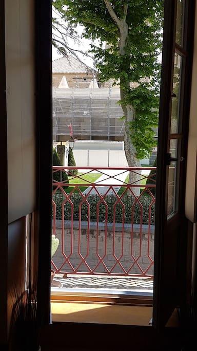 vue du salon sur les jardins du palais