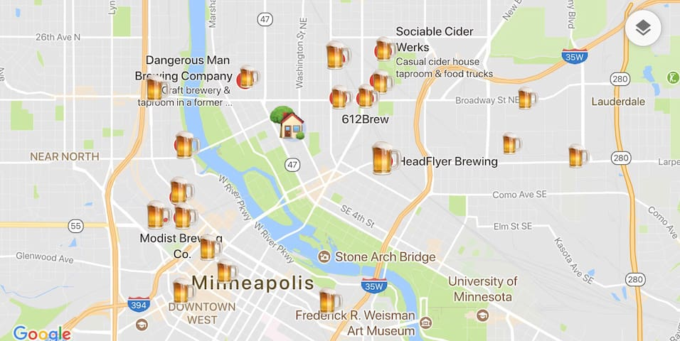 Nearby local craft breweries near our house