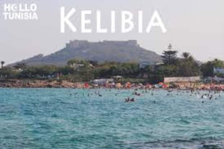 Kelibia  : castle + mountain +sea
