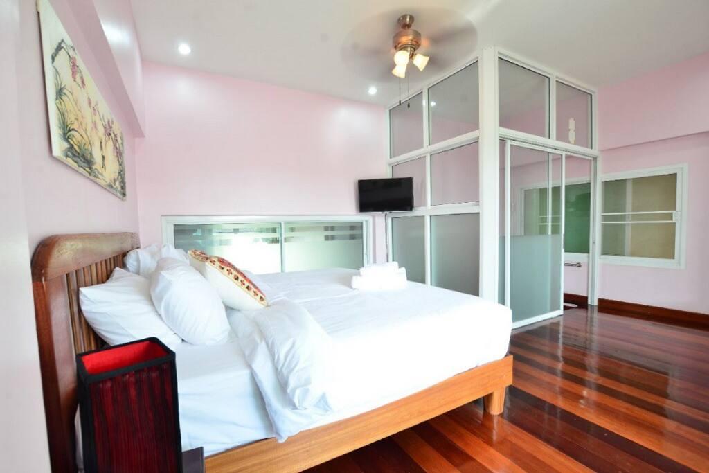 Wooden floor with Big bed