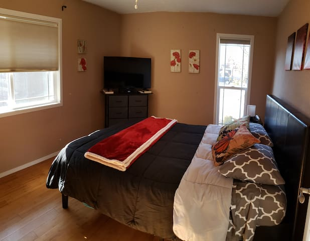 """Room has a comfortable, queen size bed  and is furnished with 43"""" tv with cable and wifi, 6 drawer dresser, 3 drawer night stand, closet with hangers and more."""