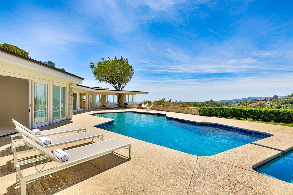 Views from the pool area off to the Beverly Hills hillside