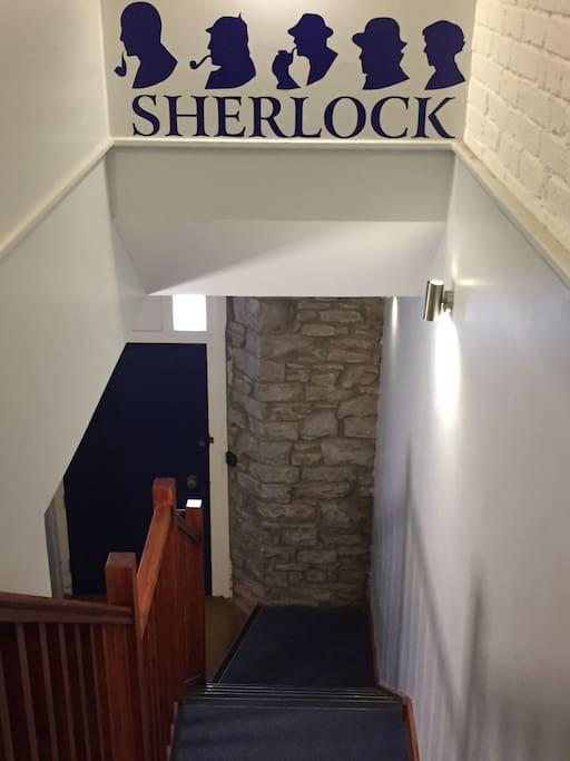 Sherlock in Abergavenny. Inside stairs