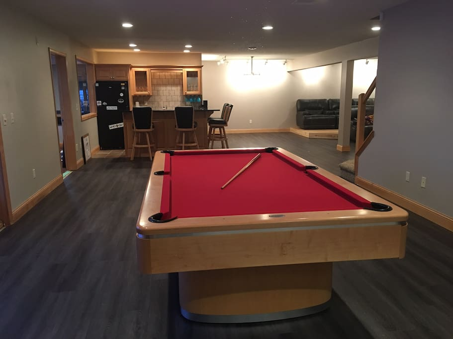 Pool table with bar