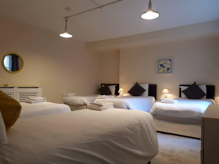Large bright en-suite room sleeps 5 - Free Wifi