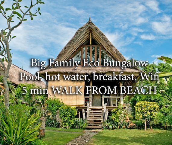 2st BUNGALOW 6 ppl, 5min beach, wifi, pool, bfst D - South Kuta - Apartment