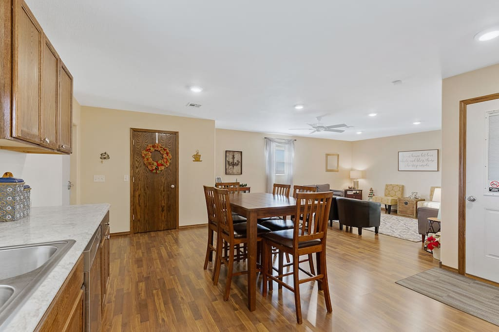 Large open living/dining area