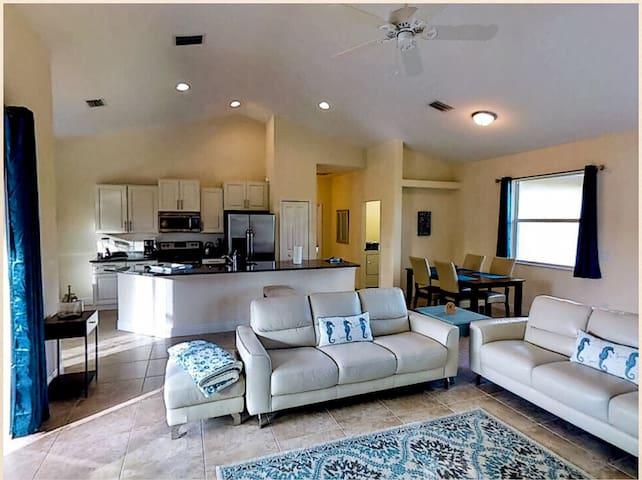 spacious living area, extra high ceilings
