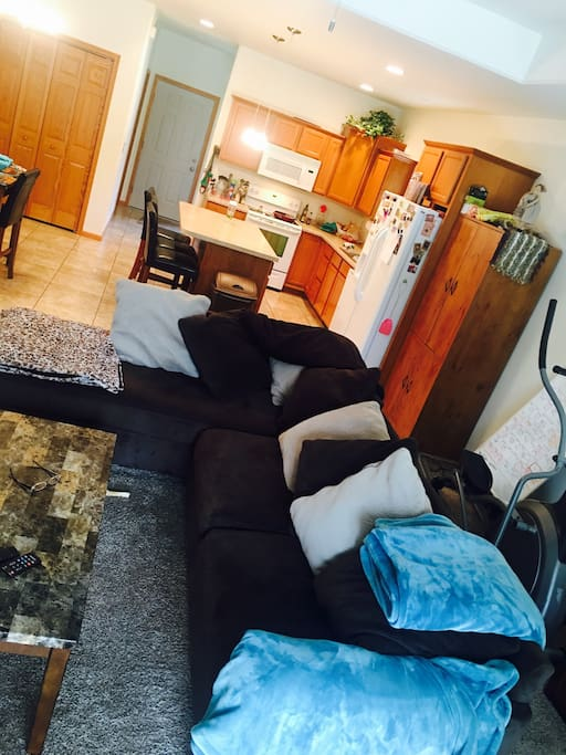 Great living room and kitchen with deck