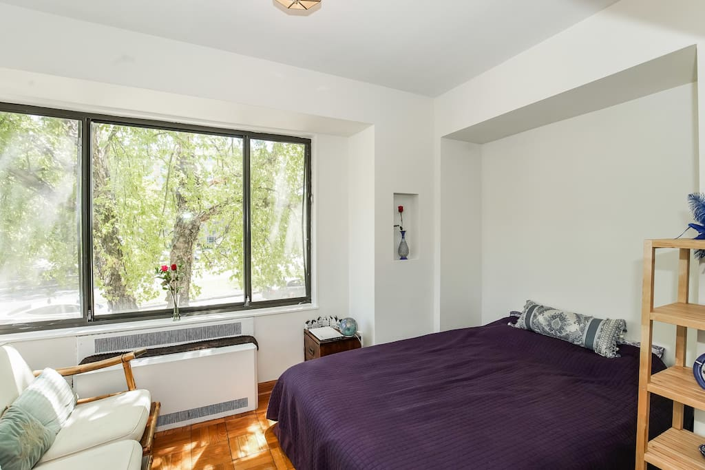 Quiet spacious bright bedroom w/ queen bed