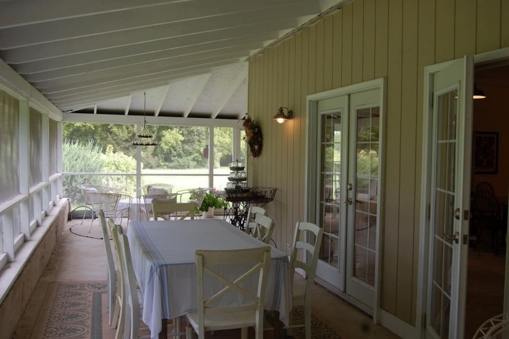 Harvest House screened in Porch overlooking flower farm