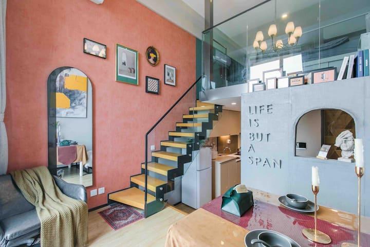 「沐子的家」火车站栈桥海景复古loft公寓