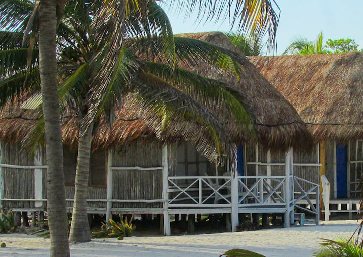 silent isolated  front beach cabins mahahual