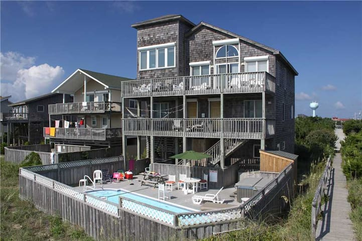 Seventh Heaven  OCEANFRONT w/Htd Pool&HotTub, RecRoom, Pets