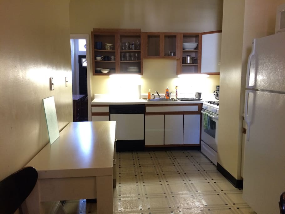 Eat-in kitchen is at rear of house.  Includes dishes, culterly, cookware.
