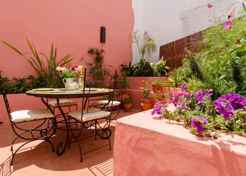 Our jewel, the Moroccan-inspired courtyard garden, a tranquil haven for sunning, eating and chilling.