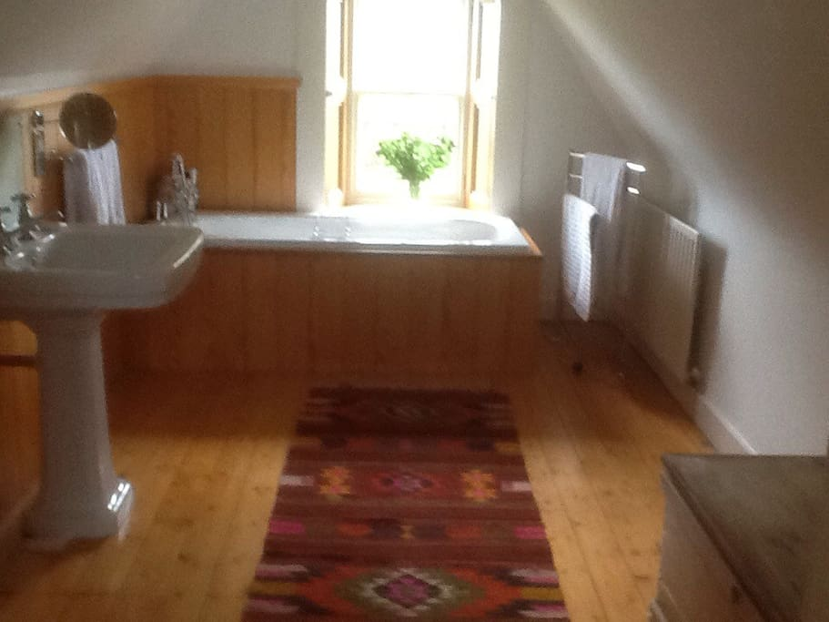 Top floor bathroom for Airbnb guests. Toilet, wash hand basin and bath.There is shower mixer over bath. There is a sperate shower downstairs, also for guest use.