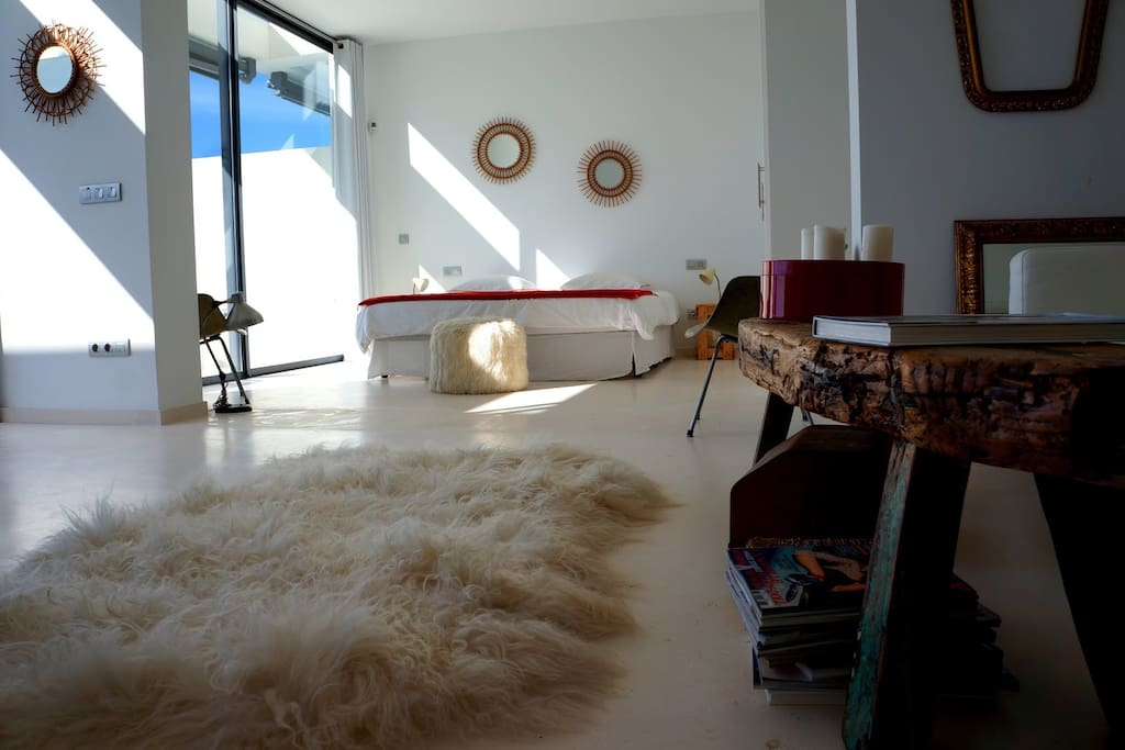 chambre ouverte sur le salon