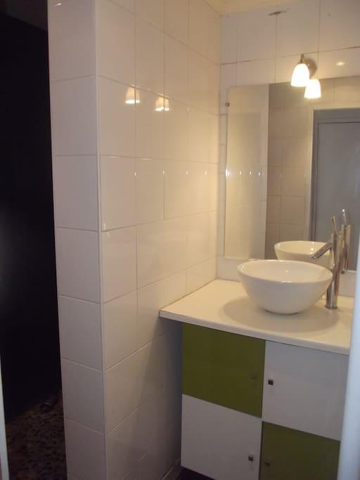Salle de bain comportant douche à l'italienne
