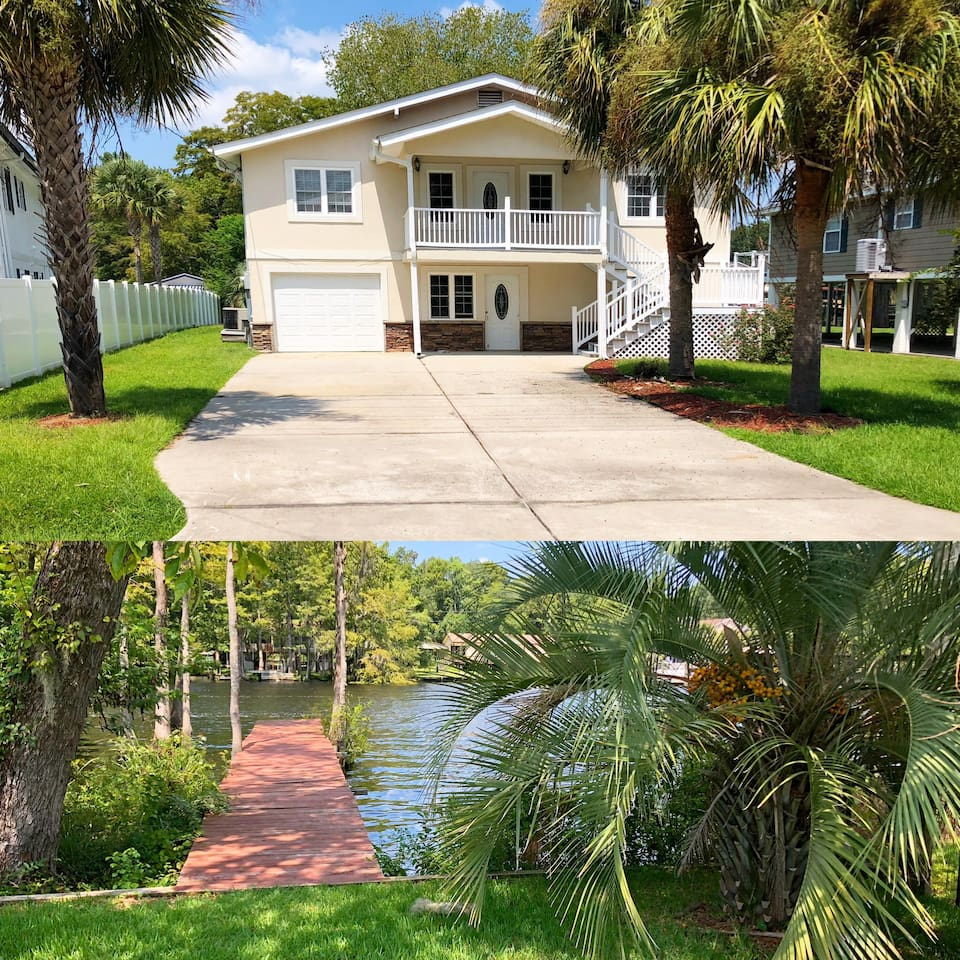 Front of house: renting upstairs unit.   Back of the house: View of the ICW (inner costal waterway) from back of the house. Watch boats sail by from the back deck, Carolina room, kitchen and master bedroom.