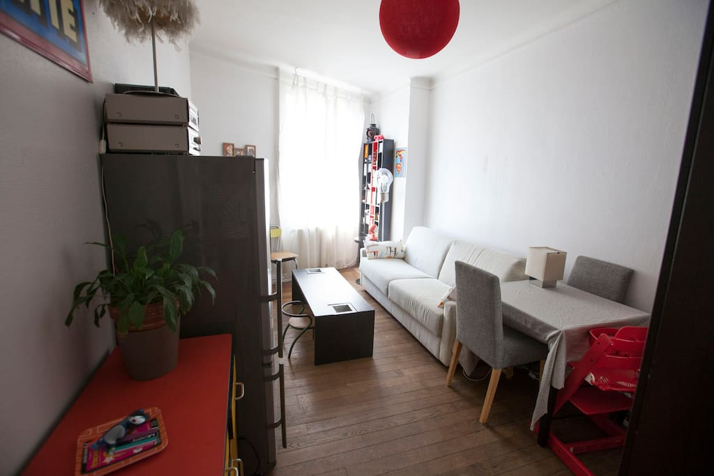 Sunny flat near belleville 39 s park appartements louer for Salon qui se transforme en chambre