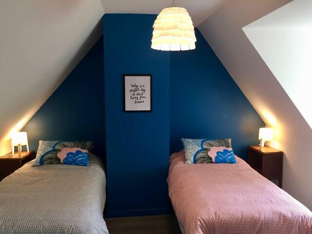 Chambre bleue - 2 lits simples, penderie, étagère, volet roulant