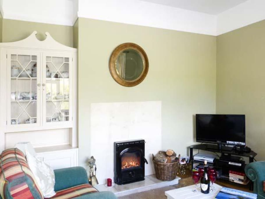 Ceilings are 7Ft. high. Sky TV -all channels. Wifi. DVD player and DVDs, Stove - wood and coal burning fire. Central heating.