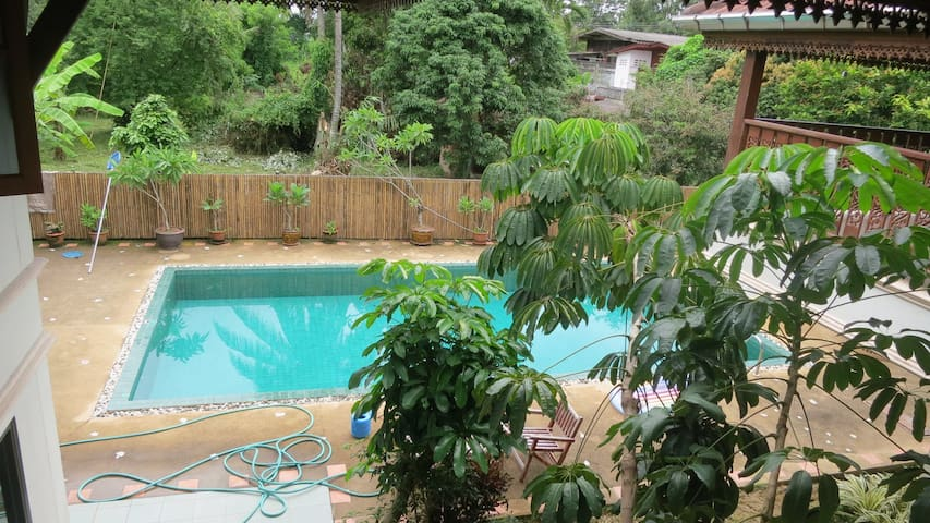 You have full access to the pool - there's an outdoor shower too.