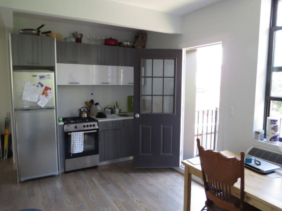 Here's the kitchen/common area with the balcony