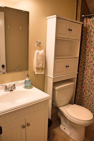 Full bathroom adjacent to room.