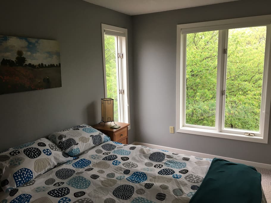 Quiet, comfortable bedroom with a beautiful view of the ravine.