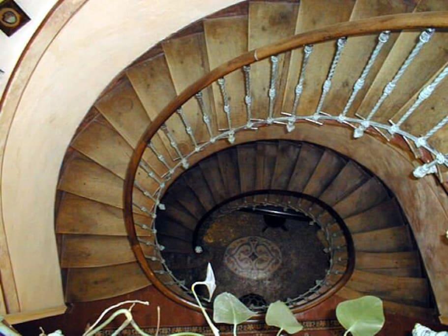 Sur plan ovale l'escalier est partagé jusqu'au 1er étage puis mène exclusivement à votre nid