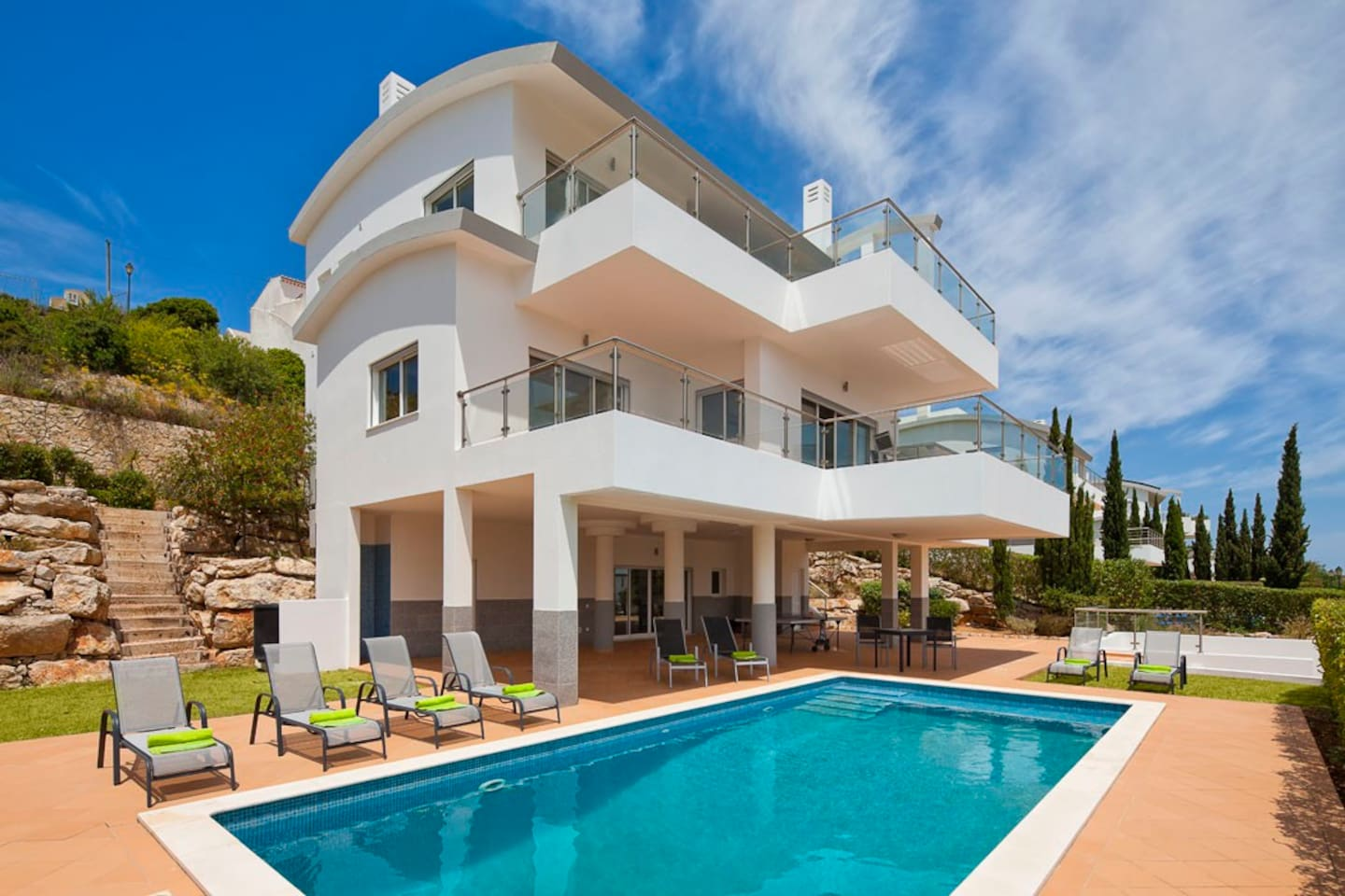 Spacious pool and garden area including large shaded area for relaxing