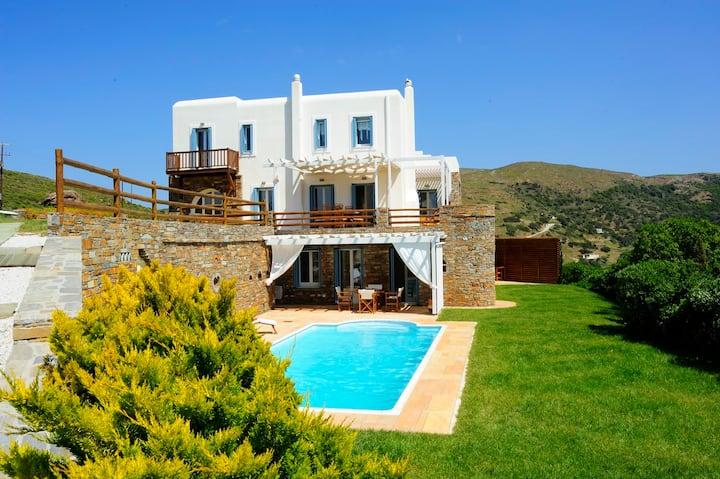 Heliades Luxury Villas Andros-Private Pool-Seaview