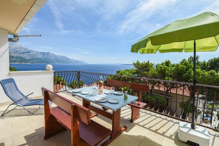 Appartement d'une chambre avec la terrasse et la vue sur le mer Marusici, Omis (A-10012-a)