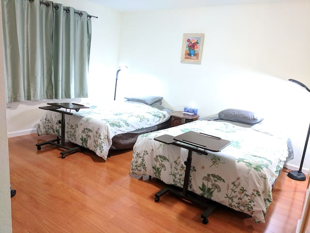 Private master Bedroom with 2 beds & private bath
