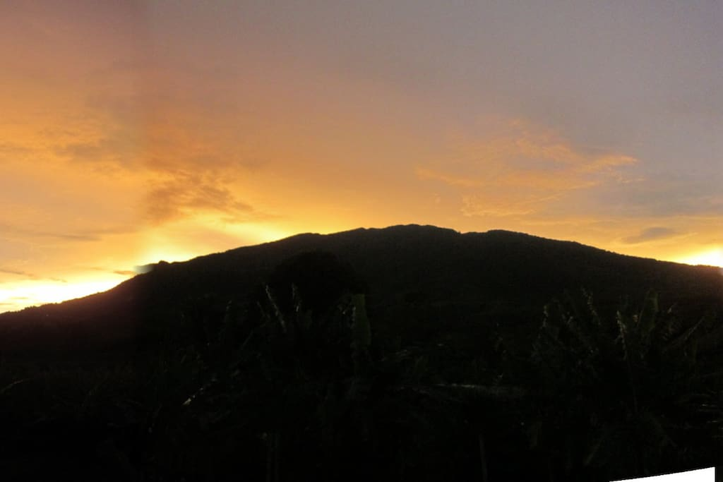 Sunset over Mt. Salak from back porch