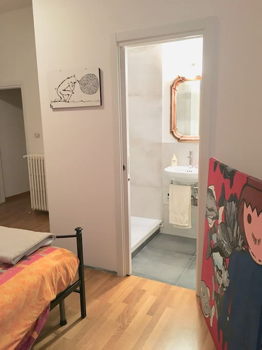 Your double room - view from the window, to see the bathroom inside.