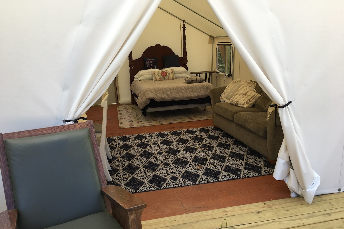 Queen Size Bed (Purple Mattress) and a sofa sleeper. & Graceu0027s Glade - Tents for Rent in Cadillac Michigan United States
