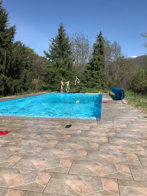 Pool 12m x 5m. Deepest section 2.4 m.