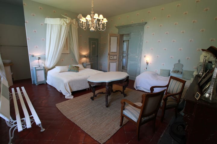 Family bedroom in a small castle