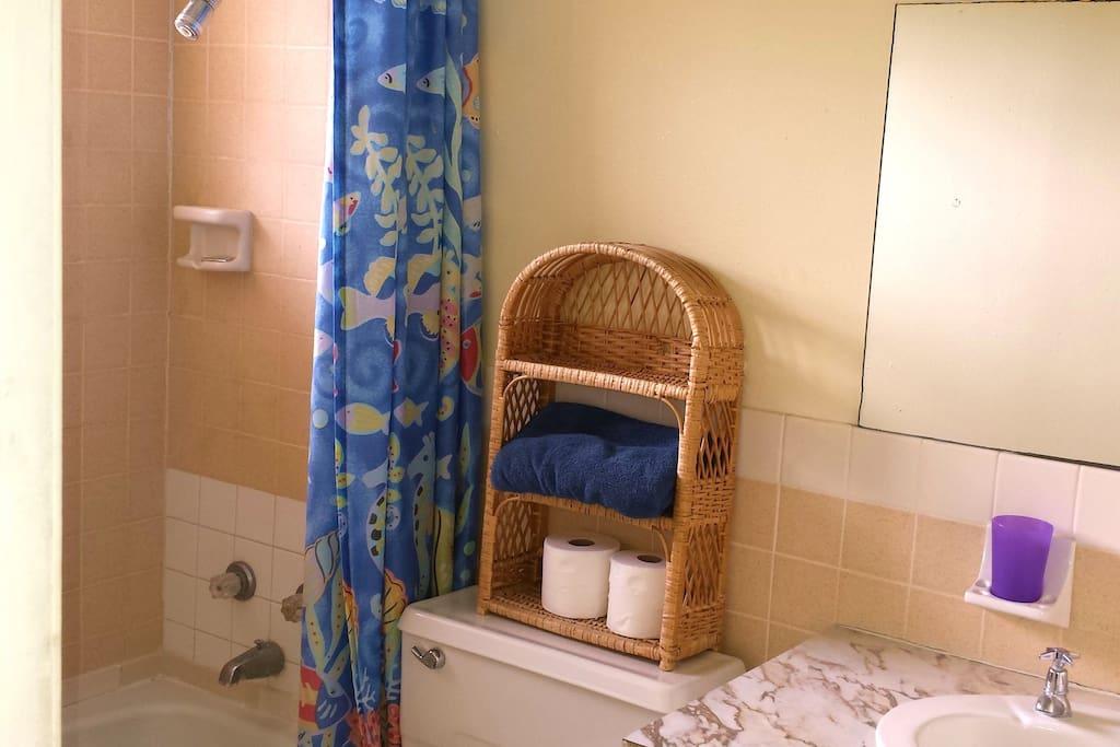 Typical en suite bathroom with shower/tub, towels, toiletries, etc.
