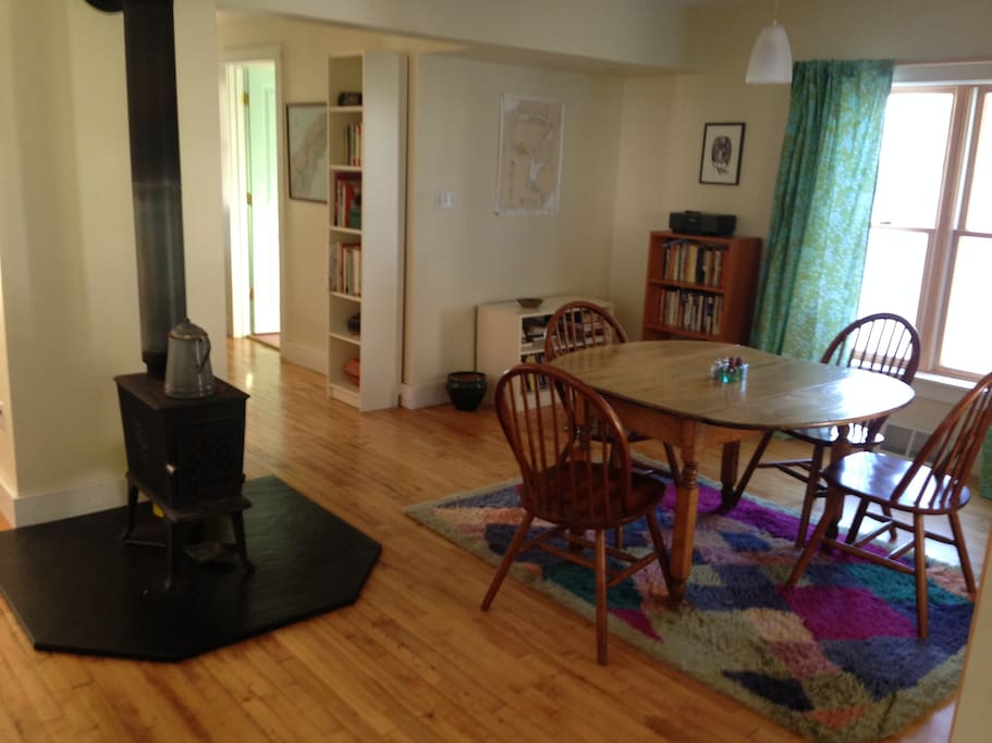 Wood stove in main living area