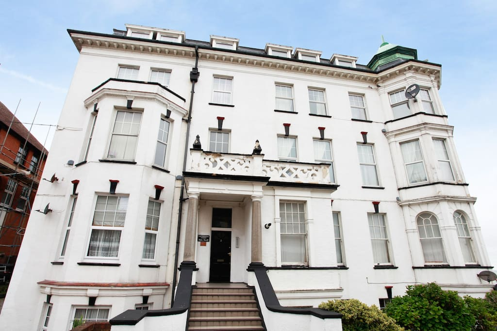 Our flat is on the raised ground floor of an old Edwardian hotel on Cliftonville's seafront. The Walpole Bay bathing pool, perfect for swimming, is a three minute walk away. The building is now newly-decorated.