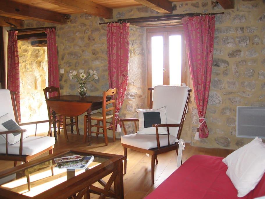 vaste salon avec canapé convertible fauteuils , cheminée foyer fermé.