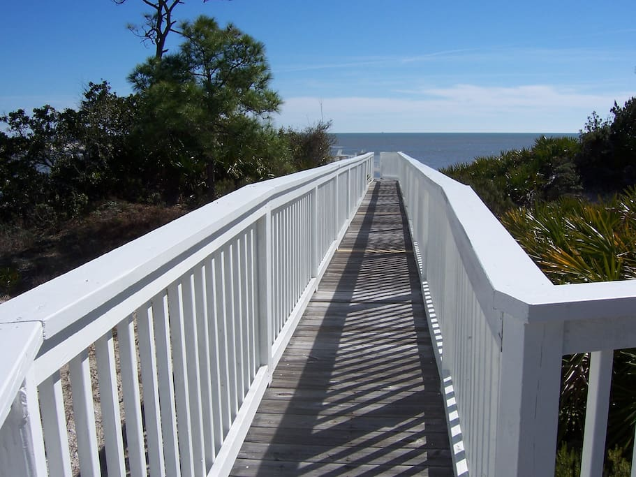 Private boardwalk from the porch to the beach