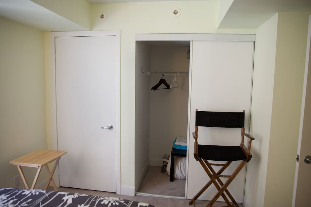 Your closet space and director's chair.
