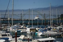 Newport's bay front and marina with the bridge in the background.