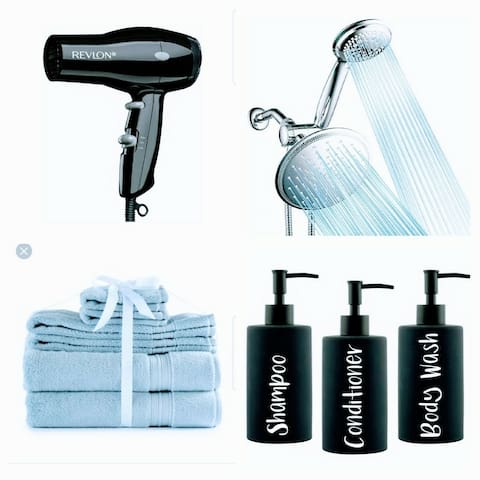 Hair Dryer, Towels, Shampoo, Conditioner, Body Wash and Lotion provided for your comfort!