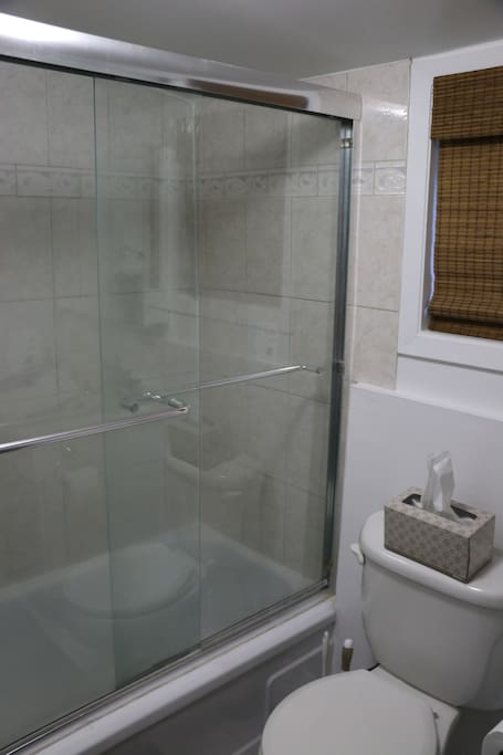 Bathroom with in-wall speakers